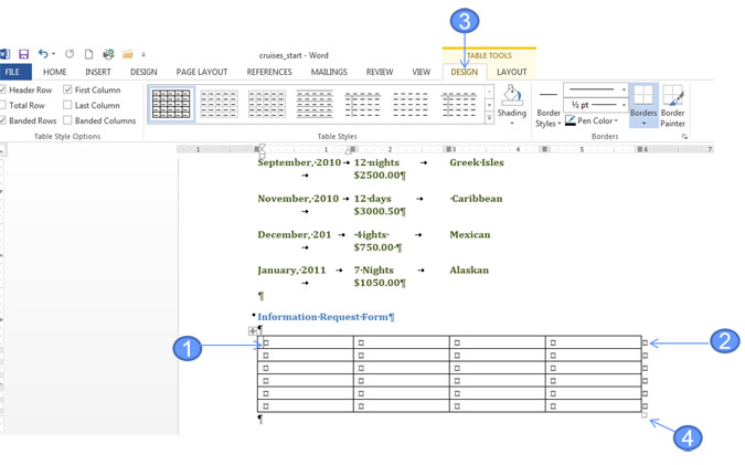 Working with tables in word office skills blog for Table design word