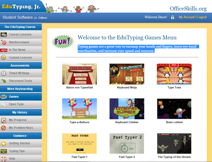 Keyboarding Games Practice for Kids and Teens