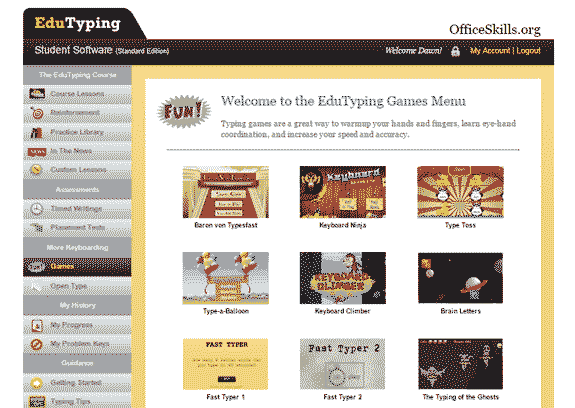 Playing games in your typing program using Edutyping software on officeskills.org
