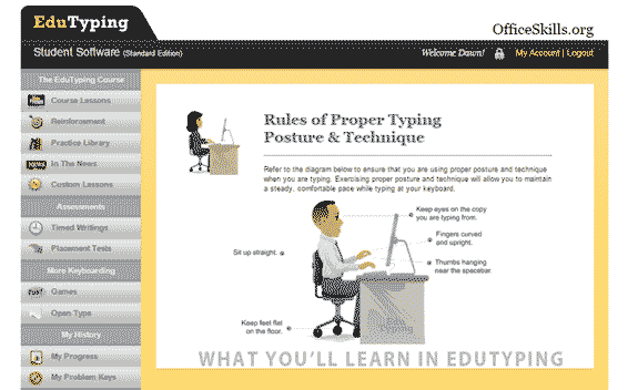 Proper typing posture & technique lesson in Edutyping