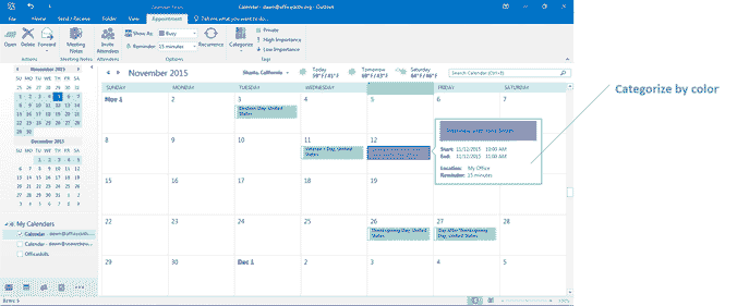 Categorize your appointments in Outlook 2016