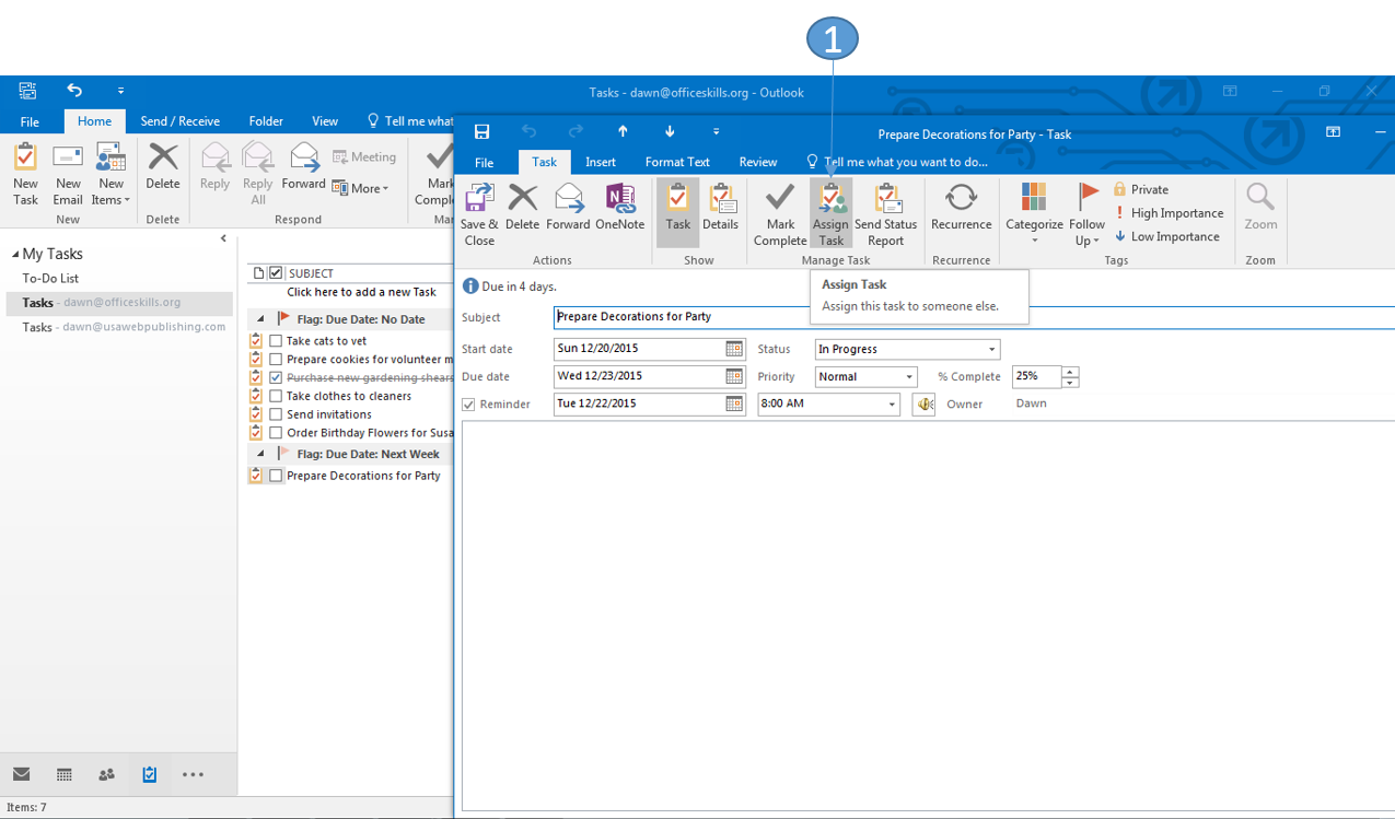 Assign a Task in Outlook 2016