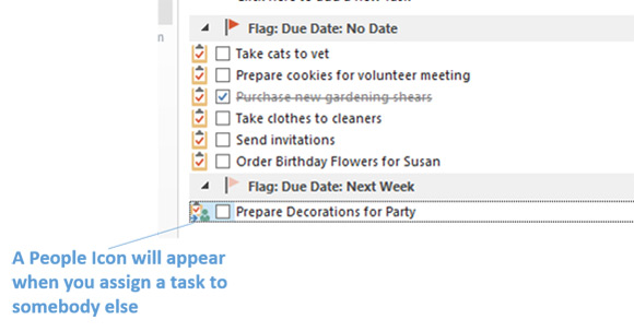 Assigned Task in Outlook 2016