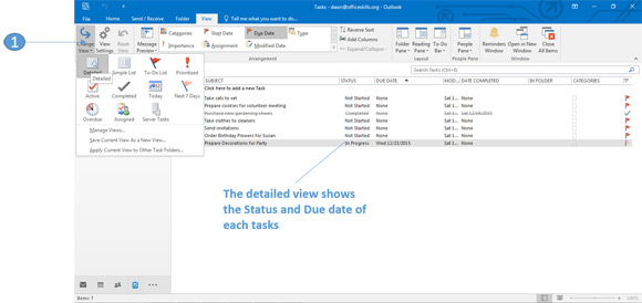 Detailed view of tasks in Outlook 2016