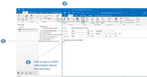 Update a task in Outlook 2016
