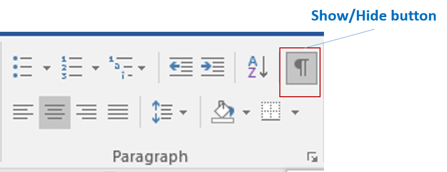 Show hide button in Word 2016