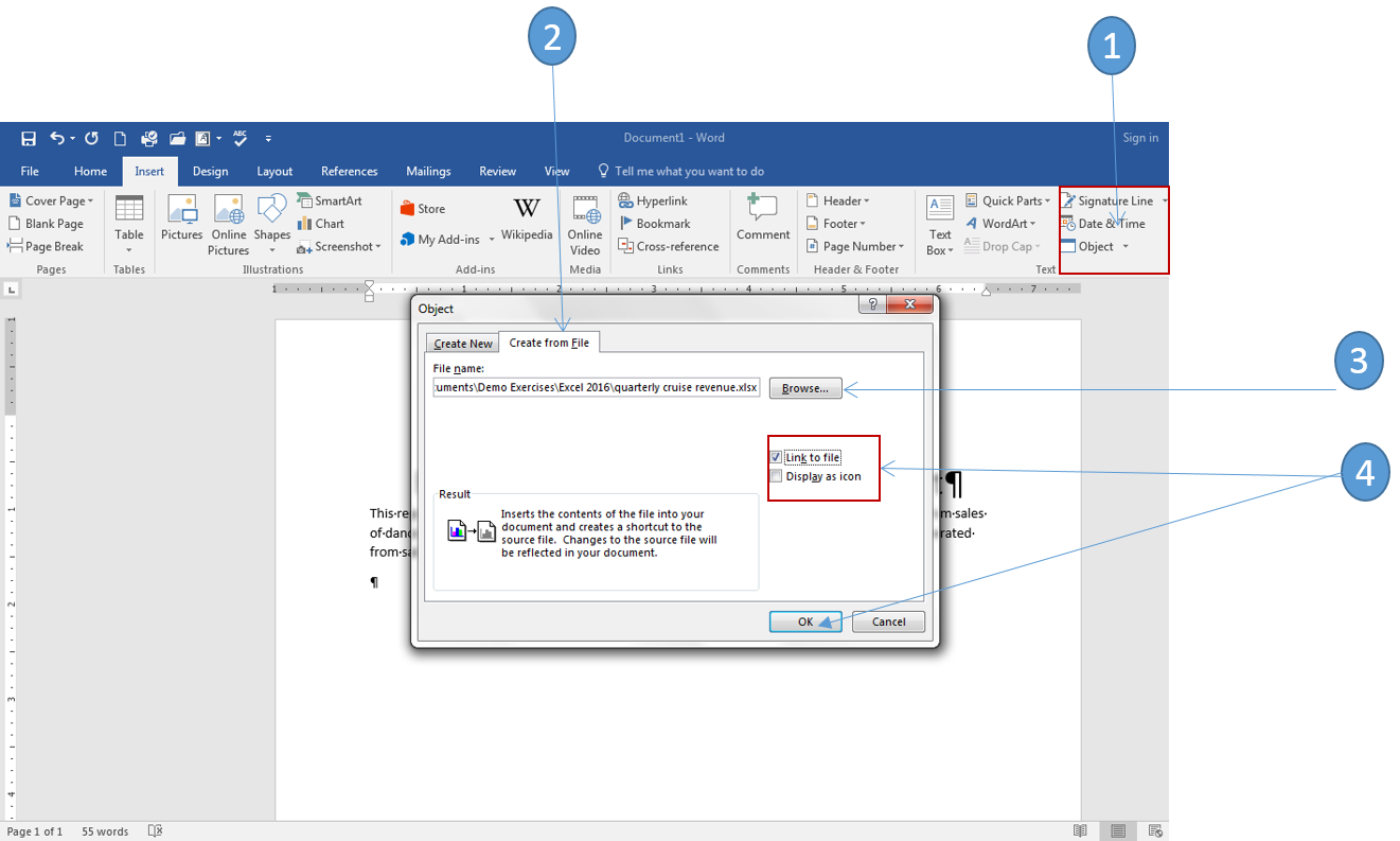 How To Link And Embed Excel Charts In Word 2016 Office