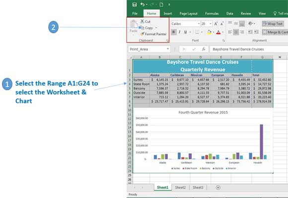 copy an excel spreadsheet and chart in Excel 2016