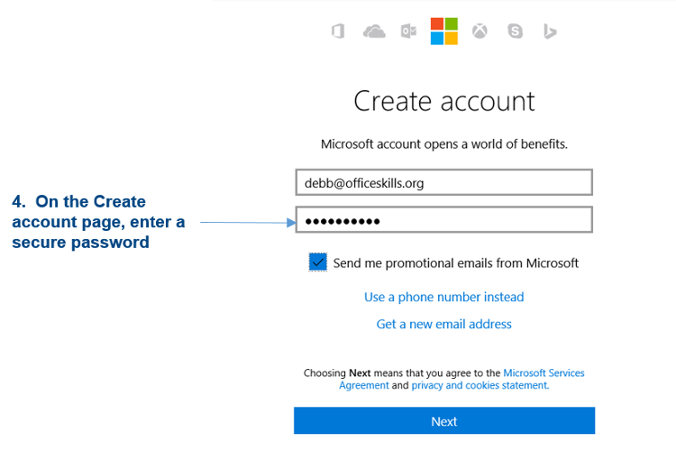 Create a Microsoft Account for OneDrive