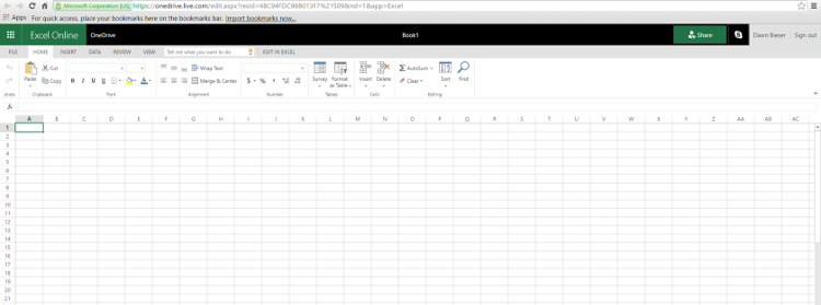 Using Excel with Office Online