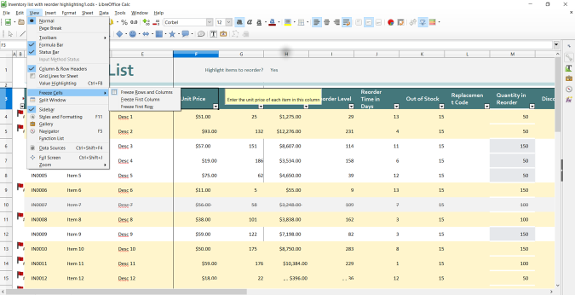 Freeze Columns in LibreOffice Calc