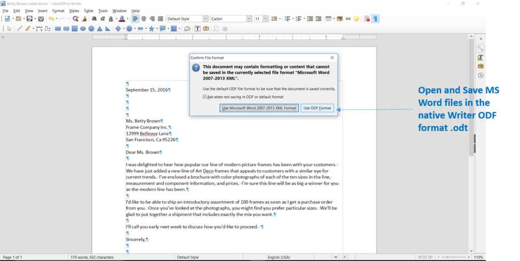 Save Word files in LibreOffice Writer format