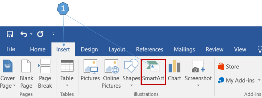 Adding SmartArt Graphics in Word 2016