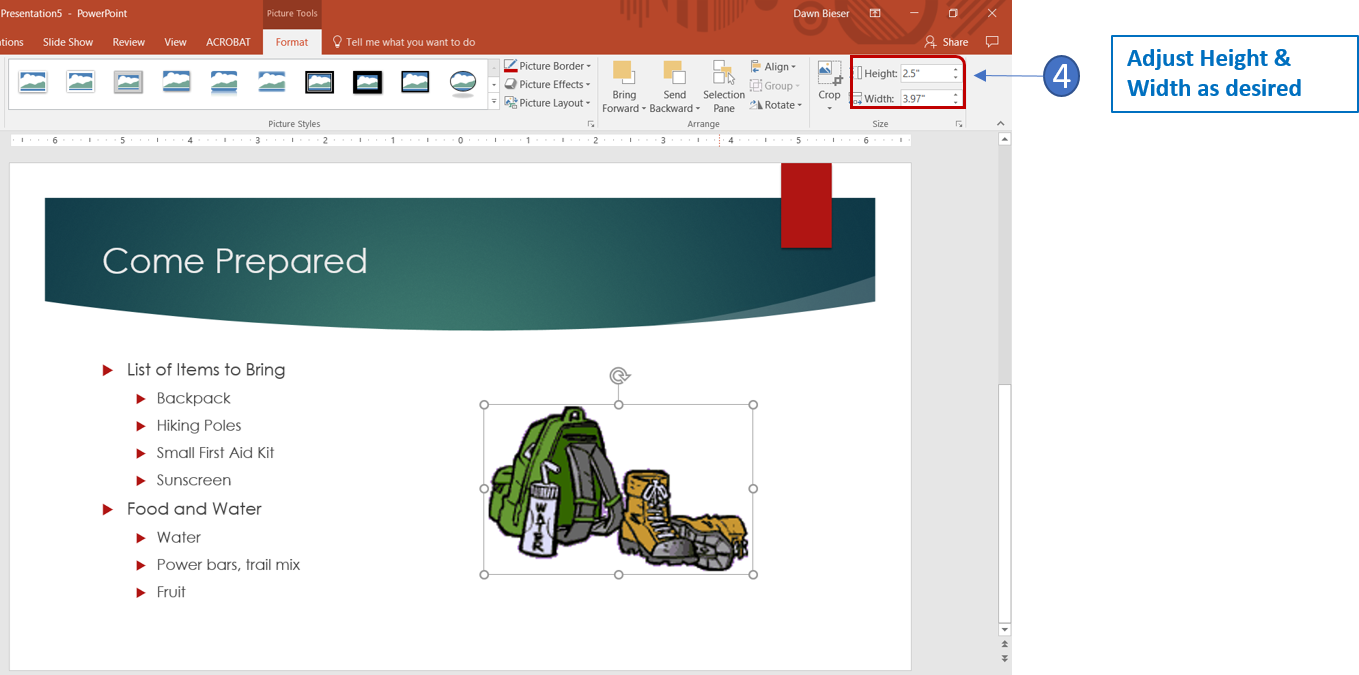 Adjust image height in PowerPoint