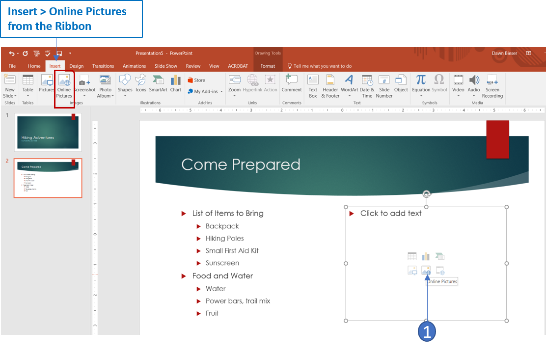 Insert online pictures in PowerPoint 2016