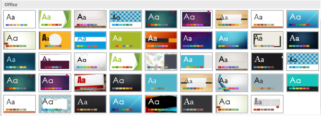 Themes in PowerPoint 2016