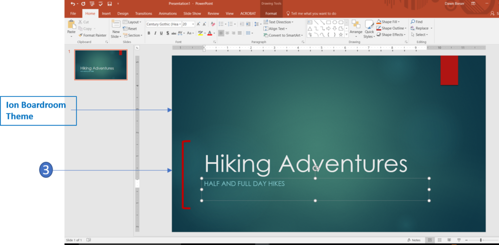 Add title and subtitle in PowerPoint 2016