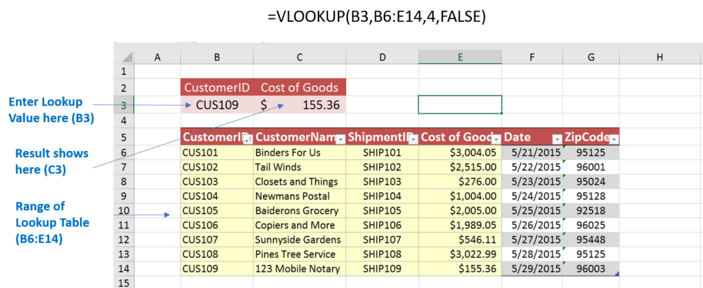 VLOOKUP values
