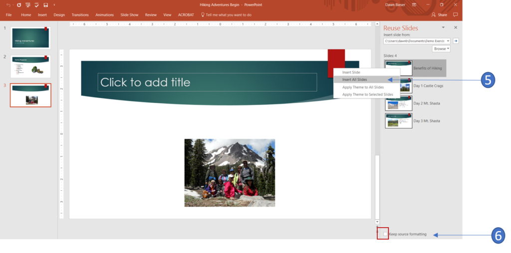 Import slides into PowerPoint
