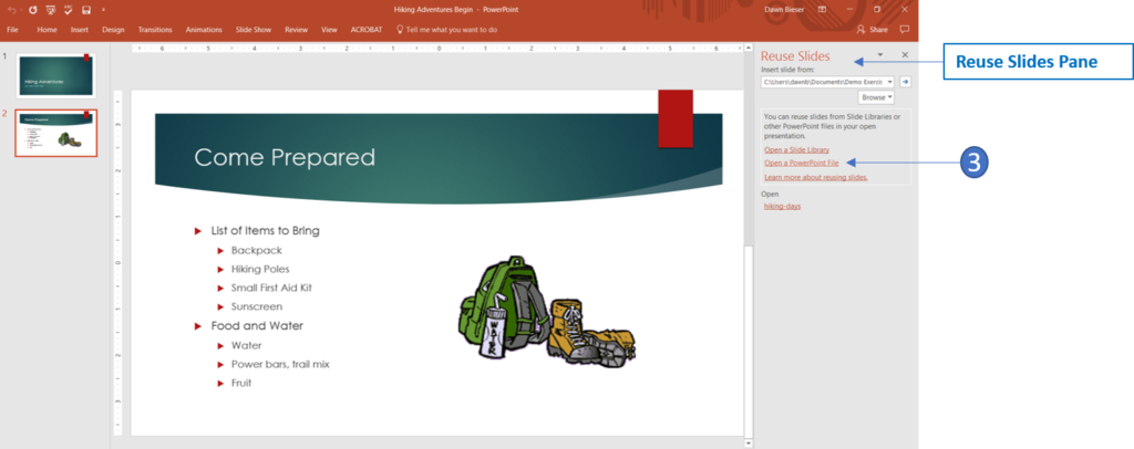Reuse Slides Pane In PowerPoint