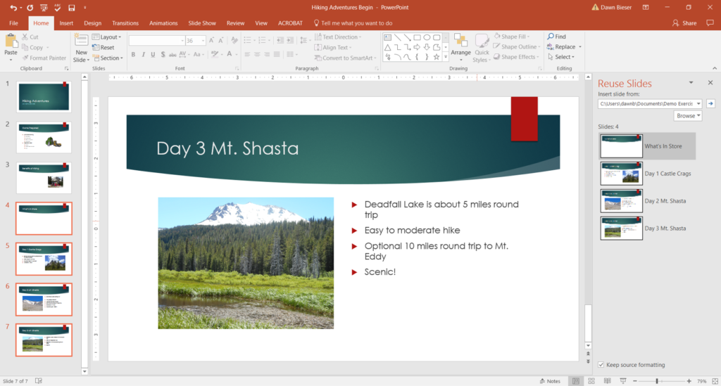 Importing slides from other presentations in PowerPoint