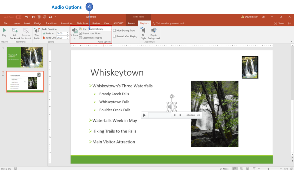 Apply audio options in PowerPoint 2016