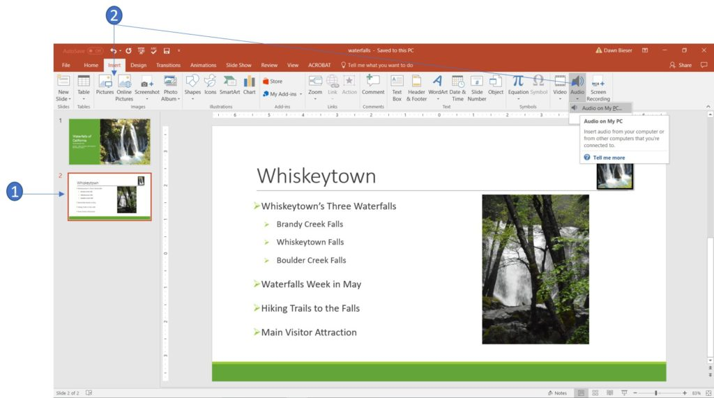 Insert Audio in PowerPoint 2016
