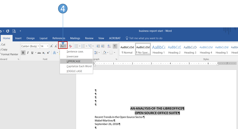 Format a simple business report in Word 2016