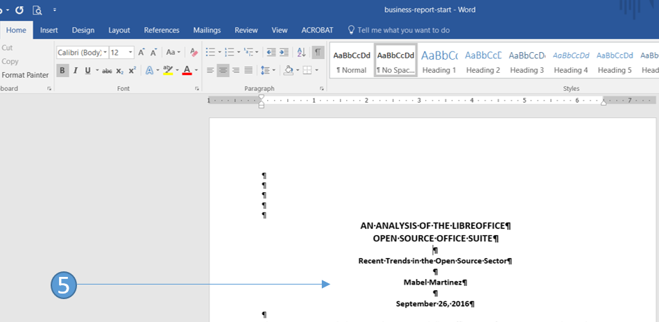 Format a one page business report in Word 2016
