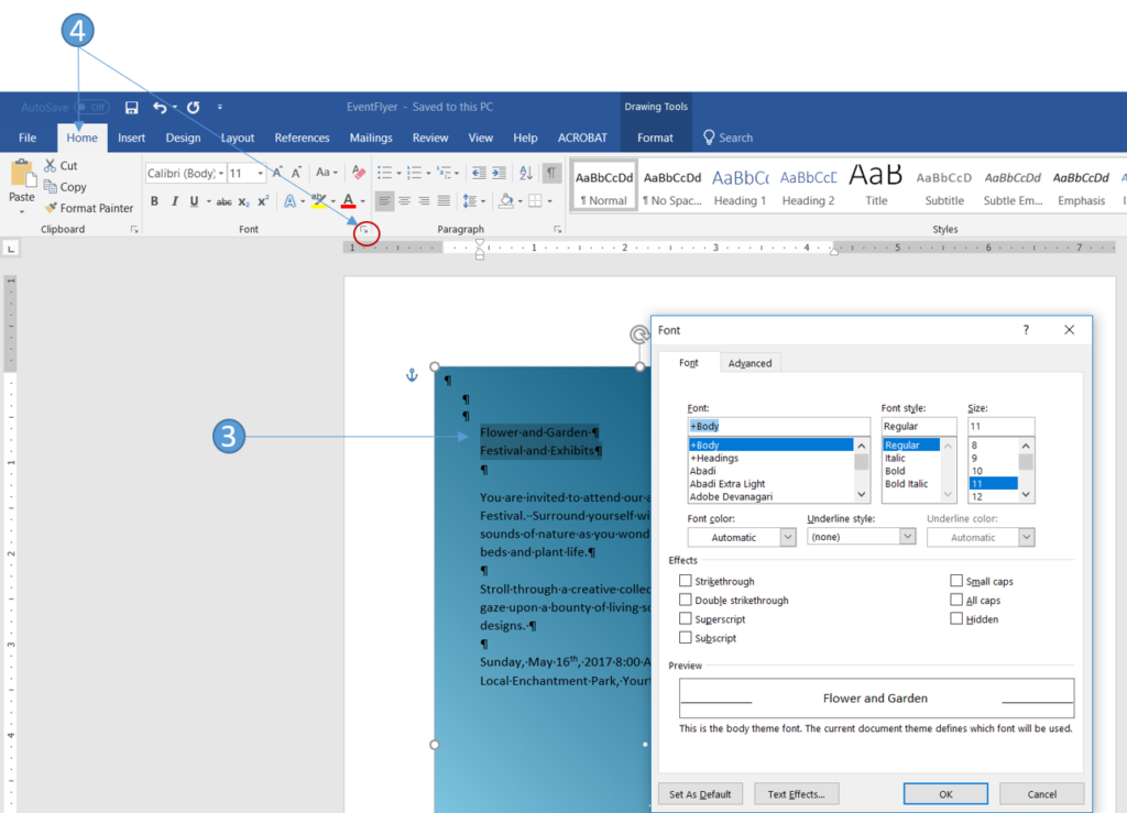 how to change font in word 2016