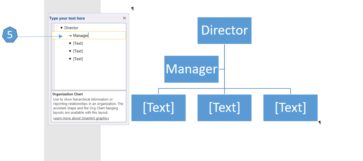 how to create an organization chart using smartart in word 2016