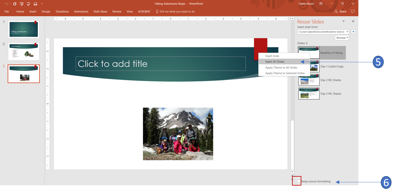 how to re use import slides from other presentations office
