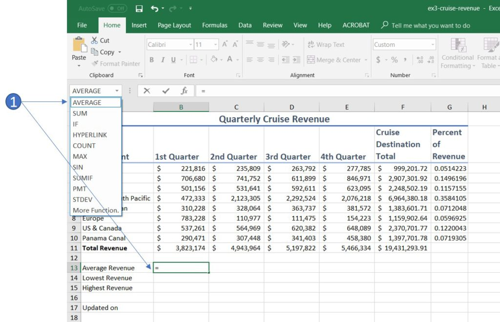 how to use average function formula in excel