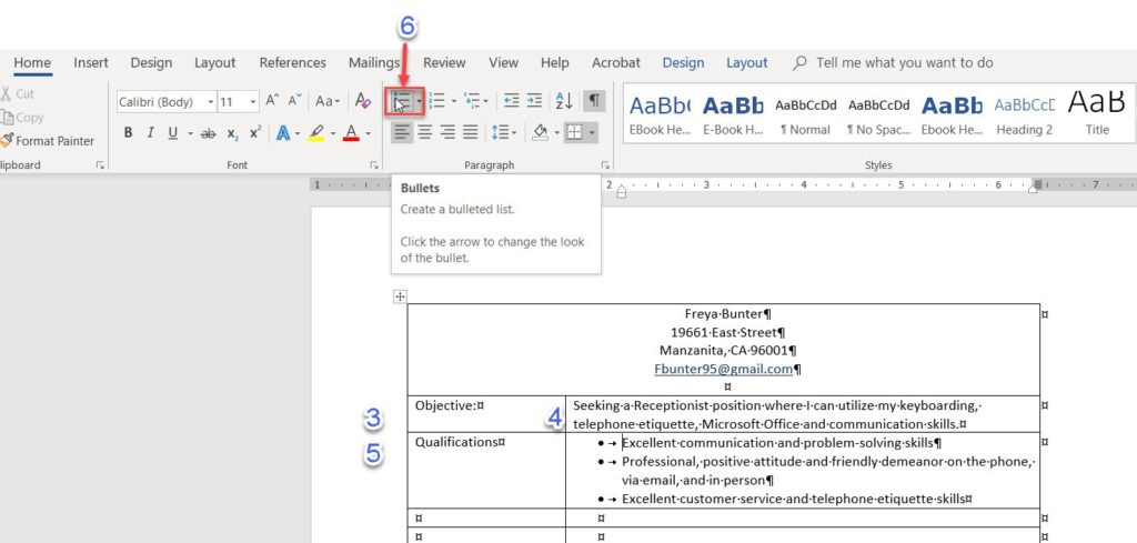 how to create a resume in word using tables