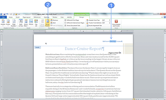 Add a footer using a Quick Park in Word