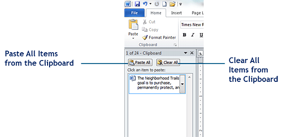The Clipboard in Word