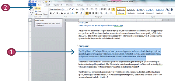 Cut and paste in Word