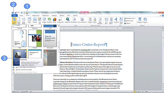 Insert a cover page using a Building Block in Word