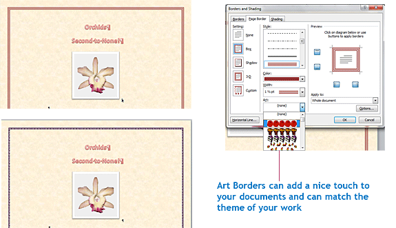 Adding page borders with art in Word