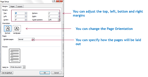 how to change margins in a page in open office