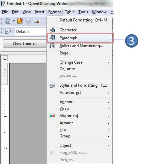 format paragraph in openoffice writer