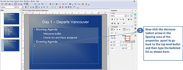 Creating indented bulleted lists in Openoffice Impress