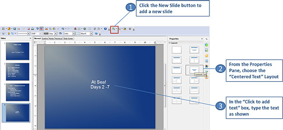 Selecting a slide layout in OpenOffice Impress